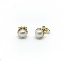 Pendientes bisel perla...