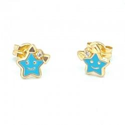 Enameled star earrings with...