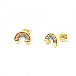 Enamel rainbow flower earrings