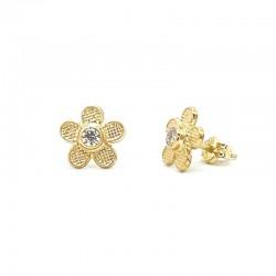 Daisy stone bezel earrings